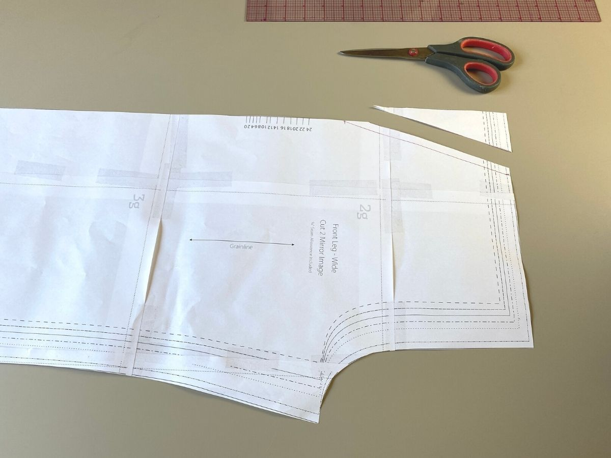 Adding seam allowance and trimming the side piece off the Pagosa Pants pattern