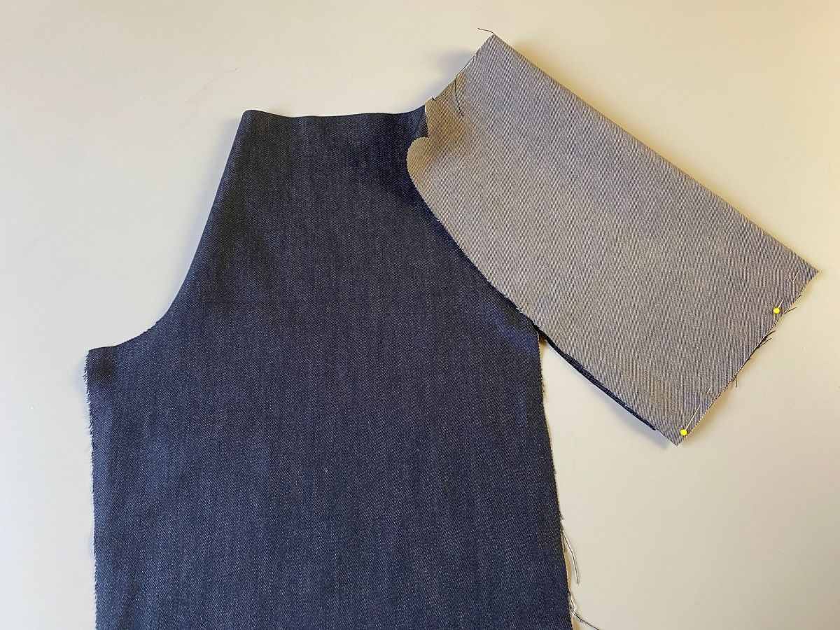 The pocket pouch piece folded in half, right sides together
