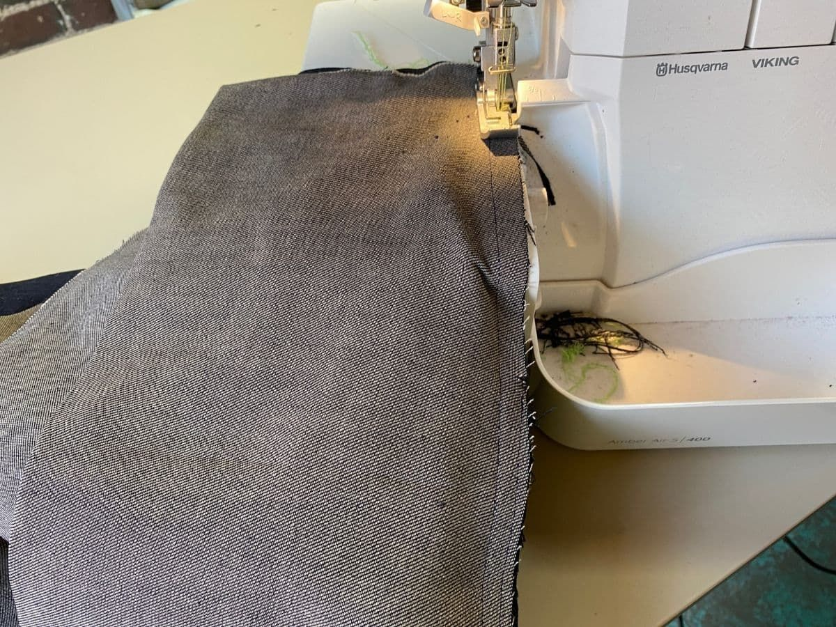 Stitching and finishing the side seams on the Pagosa Pants