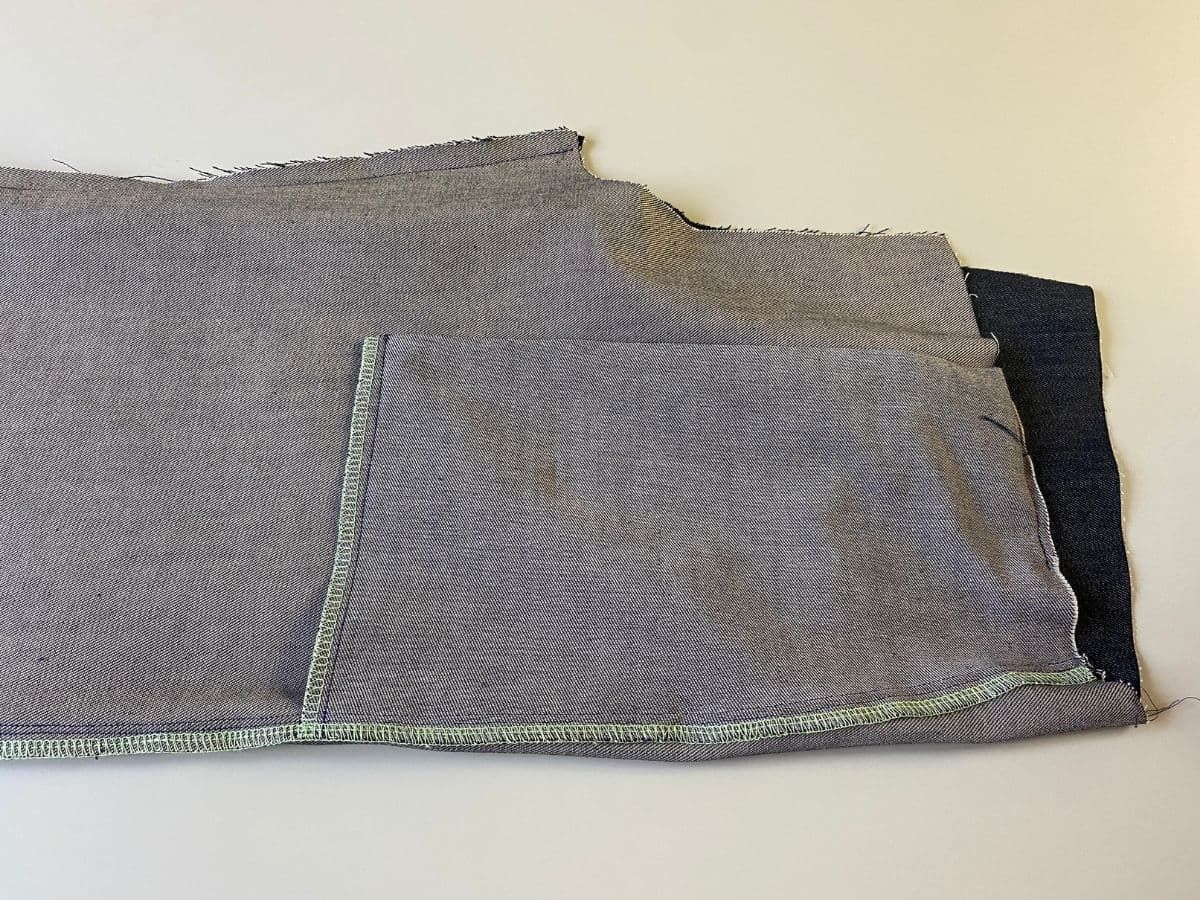 The inseam stitches stitched together on the Pagosa Pants