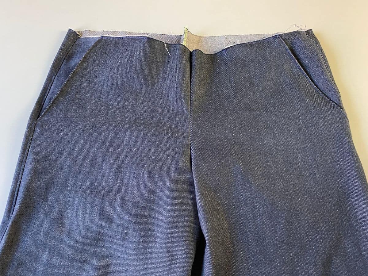 The Pagosa Pants with the crotch seams sewed together, featuring set-in pockets
