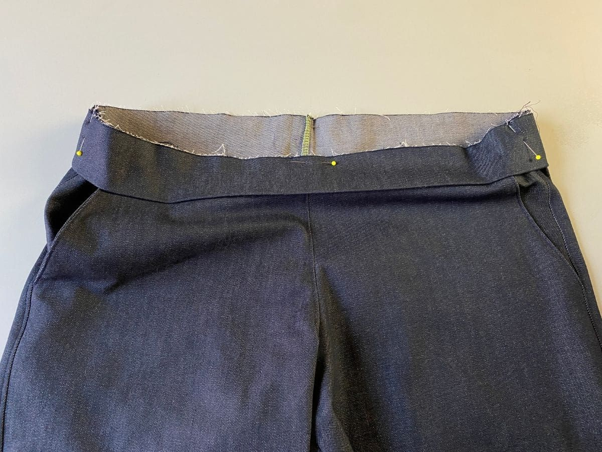 Pinning the waistband to the top of the Pagosa Pants