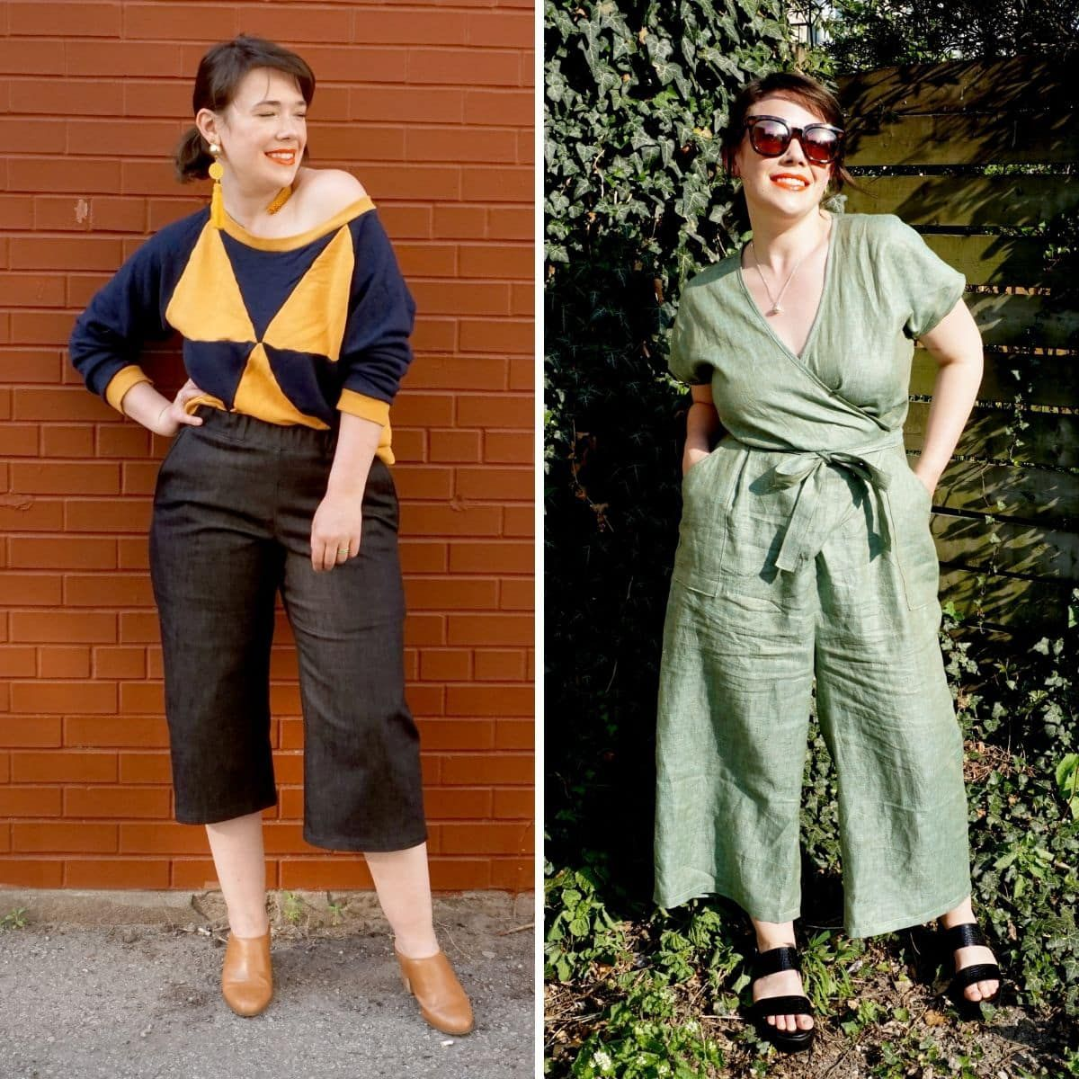 Meg modeling her Pagosa Pants with set-in pockets and her Zadie Jumpsuit with patch pockets