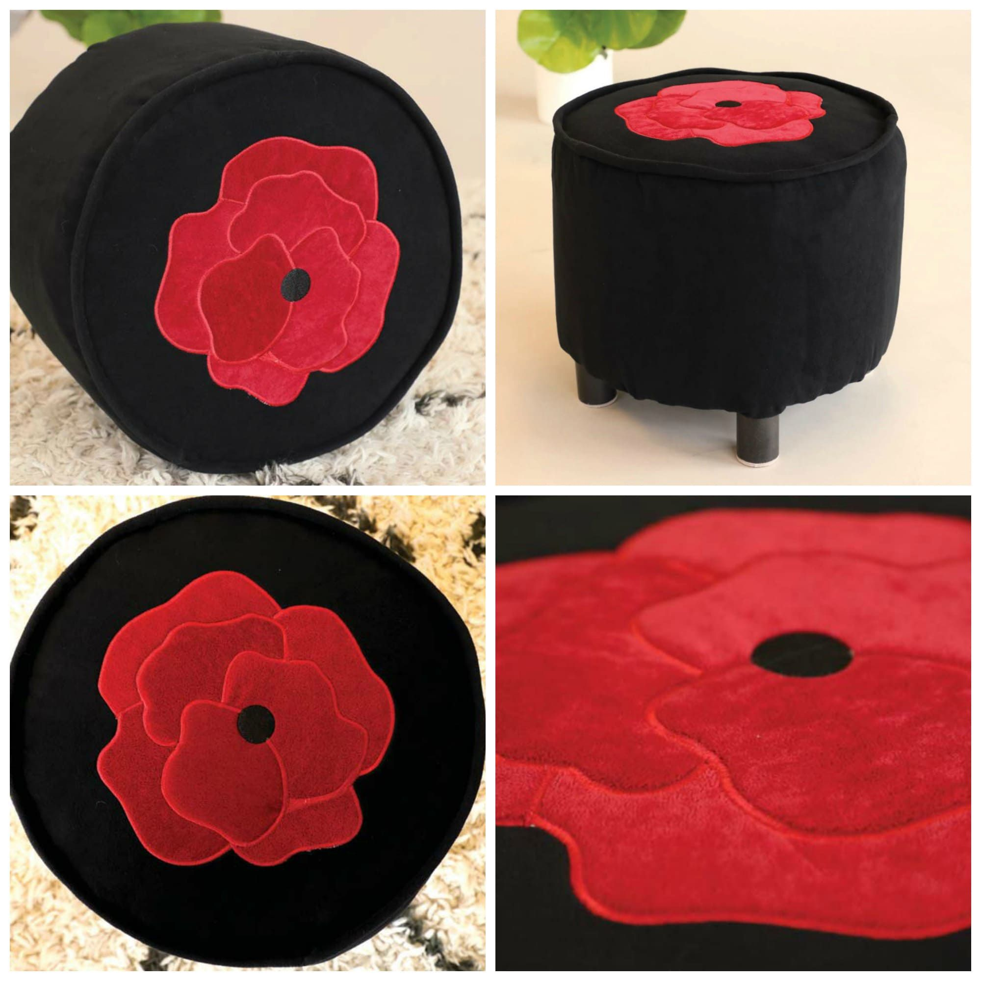 A black pouf with a bright red peony in machine embroidery on top.
