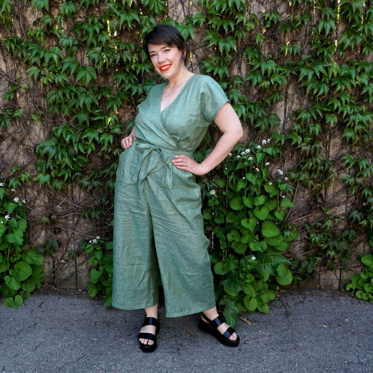 Meg modeling her Zadie Jumpsuit with patch pockets